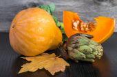 Artichoke, sliced pumpkin and broccoli — Foto de Stock