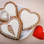 Homemade gingerbread heart-shaped — Stock Photo #64232043