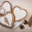 Homemade gingerbread heart-shaped — Stock Photo #64232049
