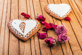 Homemade gingerbread heart-shaped — Stock Photo
