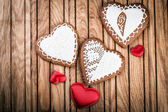 Homemade gingerbread heart-shaped — Stock Photo