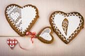 Pão caseiro em forma de coração — Fotografia Stock