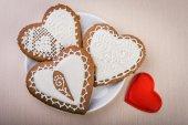 自制的姜饼的心形 — 图库照片