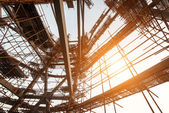 Silhouettes of scaffolding on sunset — Stok fotoğraf