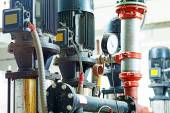 Sewage treatment plants indoors and instrumentation — Stock Photo