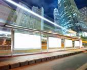 Blank billboard on bus stop — Fotografia Stock
