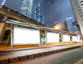 Lege billboard op bus stop — Stockfoto