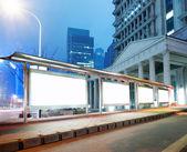 Blank billboard on bus stop — Стоковое фото