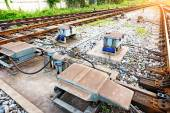Cargo train platform with container — Стоковое фото