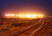 Cargo train platform with container — Stock Photo