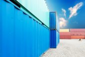 Stack of cargo containers at docks — Foto Stock