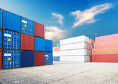 Stack of cargo containers at docks — Stock Photo