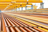Steel pipes on the rack — Stock Photo