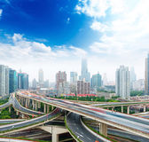 Shanghai elevated road junction and interchange overpass — Stock Photo