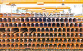 Tubos de aço na prateleira — Fotografia Stock