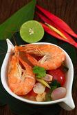 Sour prawn soup is Thai food. — Stock Photo