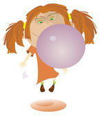 Girl blows bubble from the gum — Stock Vector