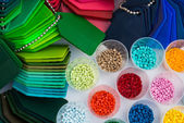Dyed plastic polymer granulates in laboratory — Stock Photo