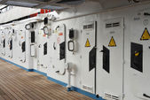 Deck of ship with protection doors — Stock Photo