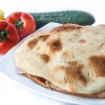 Grilled sandwich in domestic bun — Stock Photo #53374985