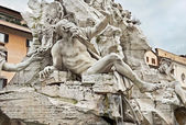 "Detail of the ""Fountain of the Four Rivers"" by Bernini, Piazza N — Stock Photo"