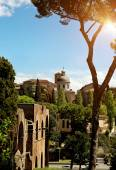 Ancient basilica church Santi Giovanni e Paolo, Roma, Italy — Stock Photo