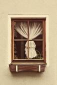 Vintage wooden window frame with curtain — ストック写真