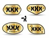 XXX tag banner set gold style. — Vetorial Stock