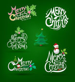 Merry christmas and happy new year greeting card lettering element. — Vetorial Stock
