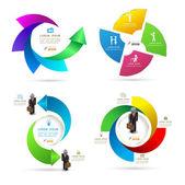 Design rotation template graphic set. Vector illustration. — Stock Vector