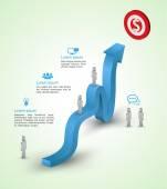 Illustration of arrow growing upward to target. — Stock Vector