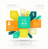 Vector cube box for business concepts with icons. — Stock Vector