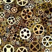 Seamless background of bronze gears wheels. — Stock Vector