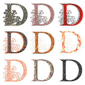 Various combination fishnet letter D. — Wektor stockowy