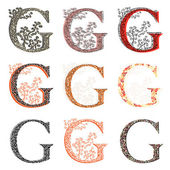 Various combination fishnet letter G. — Wektor stockowy