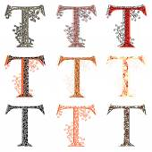 Various combination fishnet letter T. — Stock Vector