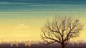 Lonely tree with birds on background of city at sunset. — Stock Vector