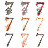 Various combination numeric figures 7. — Stock Vector