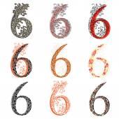 Various combination numeric figures 6. — Stock Vector