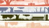 Horizontal banners with beach overlooking the bay bridge. — Stock Vector