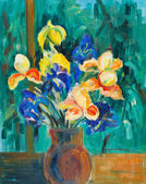 Bouquet of blue and yellow irises — Stock Photo