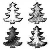 Hand drawn christmas tree — Cтоковый вектор