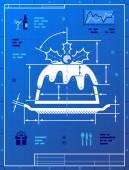 Christmas cake like blueprint drawing — ストックベクタ