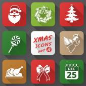 Set of christmas icons in flat style — Stock Vector