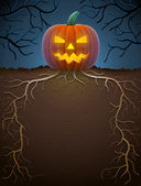 Jack-o-lantern with roots in night lighting — Stock Vector