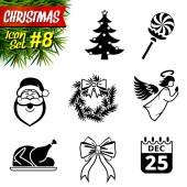 Set of black-and-white christmas icons — Stock Vector