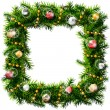 Christmas square wreath with decorative beads and balls — Vector de stock  #55345247