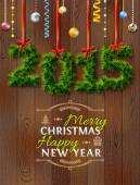 New Year 2015 of twigs like christmas decoration — Stockvector