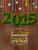 New Year 2015 of twigs like christmas decoration — 图库矢量图片