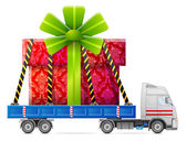 Road transportation of gift box — Vetorial Stock